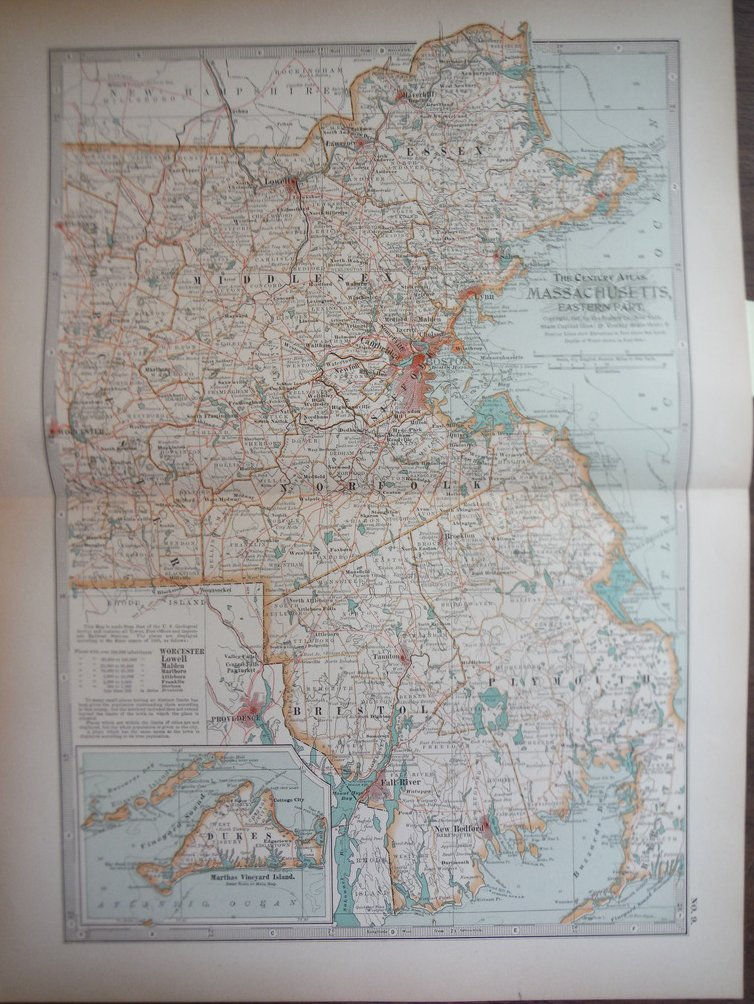 The Century Atlas, Map of Massachusetts  Eastern Part (1897)