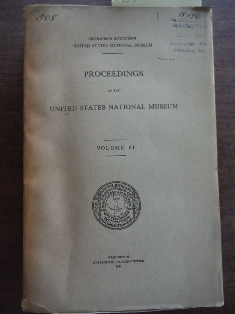 Proceedings of the United States National Museum Volume 61