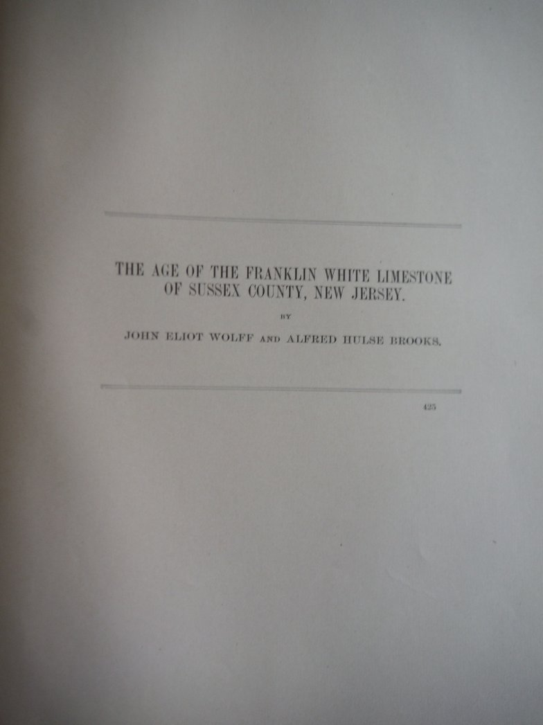 The Age of the Franklin White Limestone of Sussex County, New Jersey, 1898, Annu