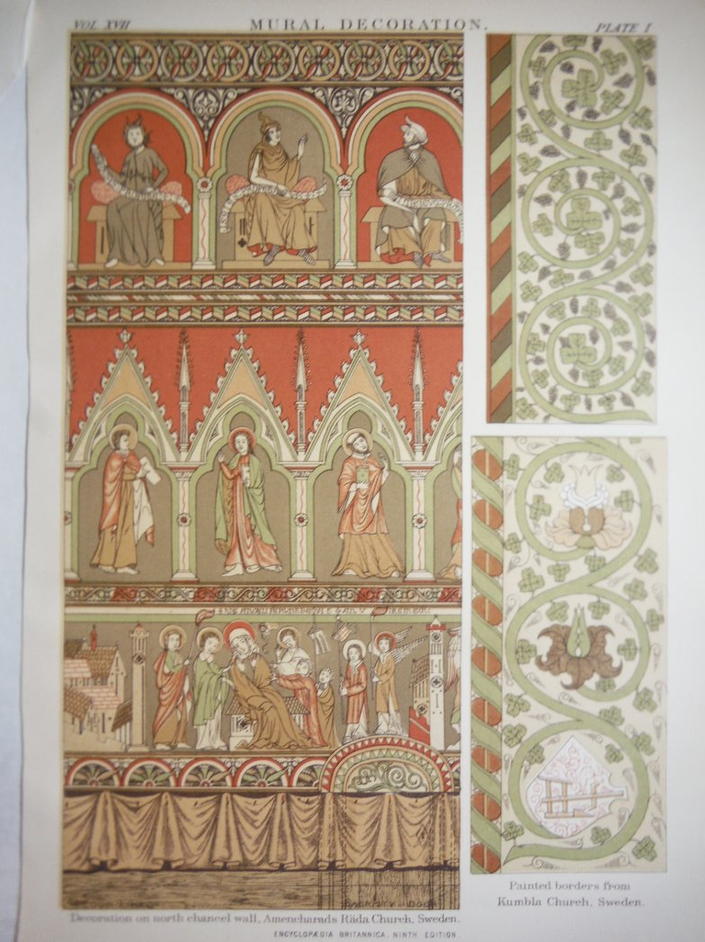 Antique Color Lithograph of  Mural Decorations of Sweden Churches from Encyclopa