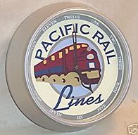 Wall Clock Pacific Rail Lines For HO Trains Enthusiast
