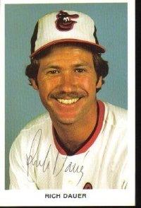 Rich Dauer Autographed Baltimore Orioles Postcard