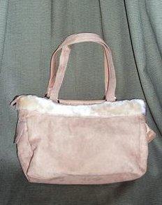 Image 1 of Microsuede Handbag Tote Satchel Purse Light Brown Microfiber