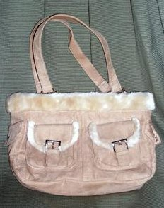 Image 3 of Microsuede Handbag Tote Satchel Purse Light Brown Microfiber