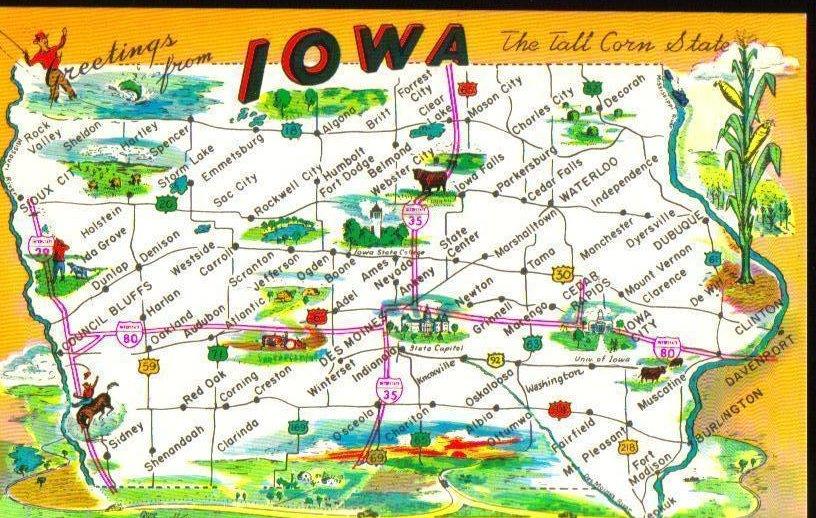 Greetings from Iowa Vintage Postcard
