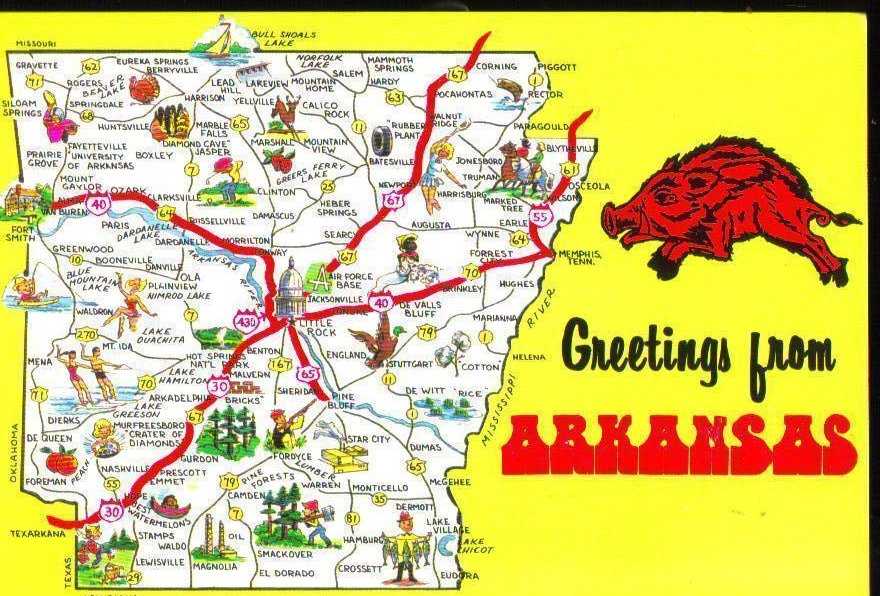Greetings from Arkansas Vintage Postcard