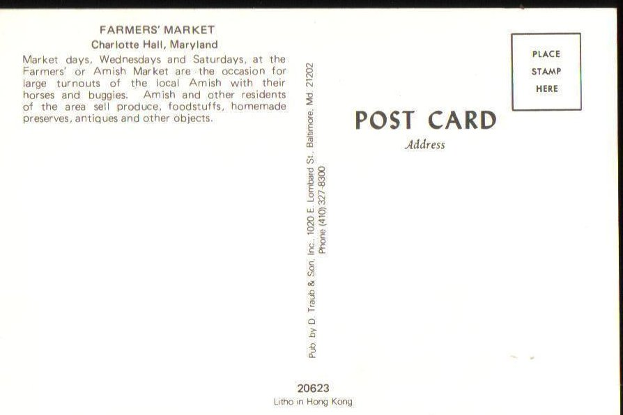Image 1 of Amish of Southern Maryland Farmers Market in Charlotte Hall Postcard