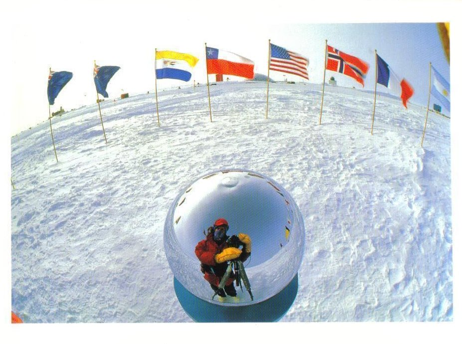 Flags at the South Pole Antarctica Postcard