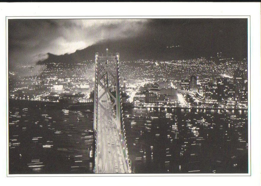 San Francisco Bay Bridge California Postcard Black and White