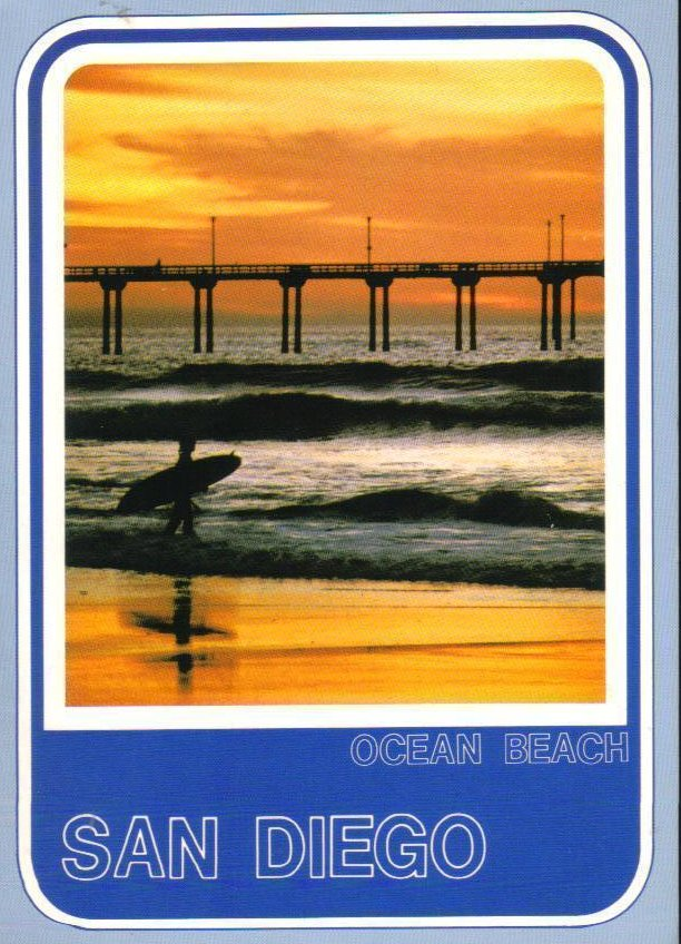 San Diego California Postcard Surfer at Sunset