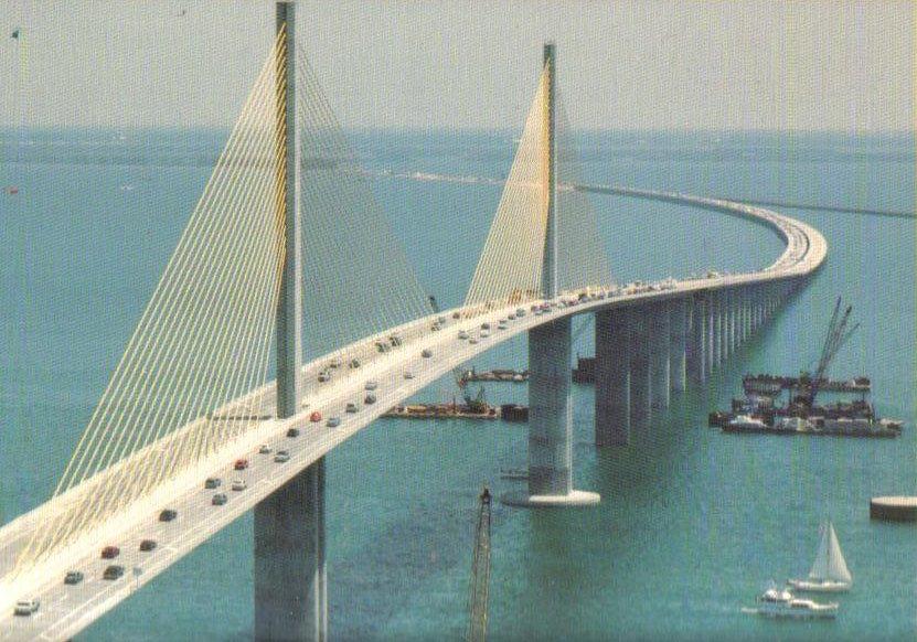 Sunshine Skyway Bridge Tampa Florida Postcard Oos