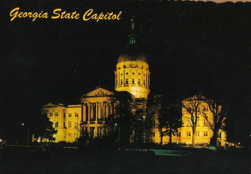 Night View of the Georgia State Capitol Building Vintage Postcard