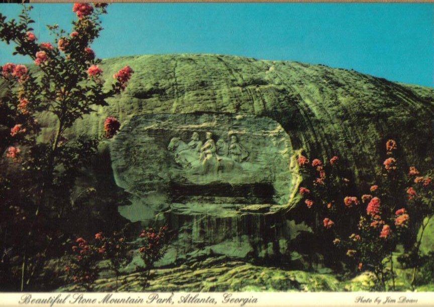 Stone mountain carving atlanta georgia vintage postcard oos