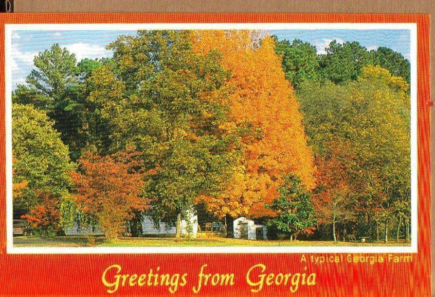 Georgia Farm is Fall, Greetings From Georgia Postcard