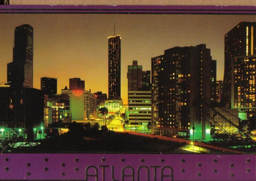 Downtown at Night Atlanta, Georgia Postcard