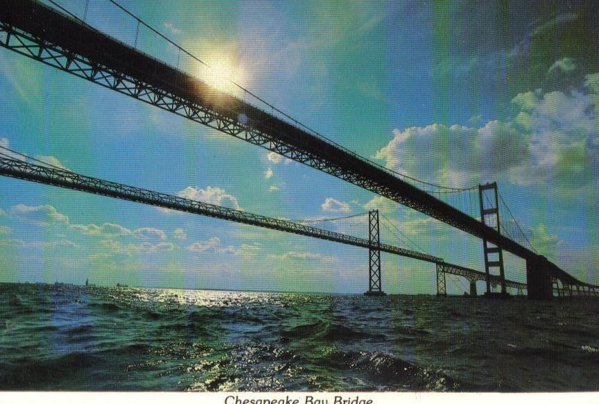Chesapeake Bay Bridge Maryland Postcard Dual Span Steel Bridge