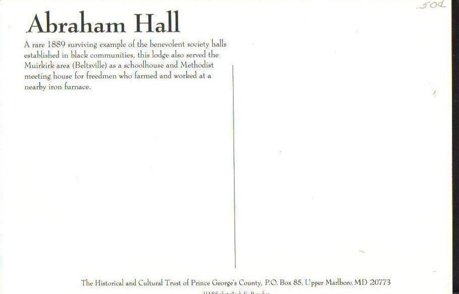 Image 1 of Abraham Hall Beltsville, Maryland Postcard Restored African American Lodge