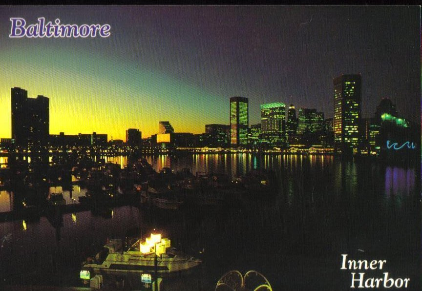 Inner Harbor, Baltimore  Maryland  Postcard