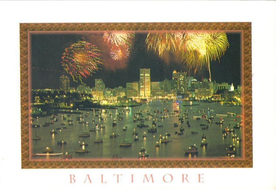 Fourth of July Inner Harbor, Baltimore Maryland Postcard