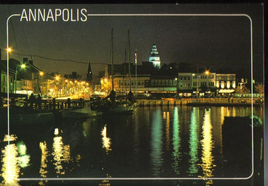 Image 0 of Annapolis Harbor at night Maryland Postcard