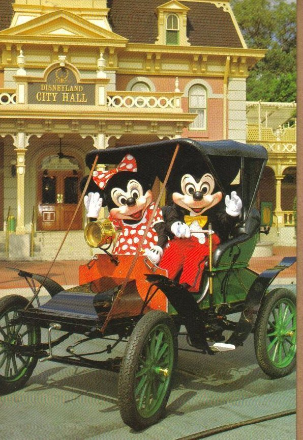 Disneyland Touring Town Square Postcard Mickey and Minnie Mouse