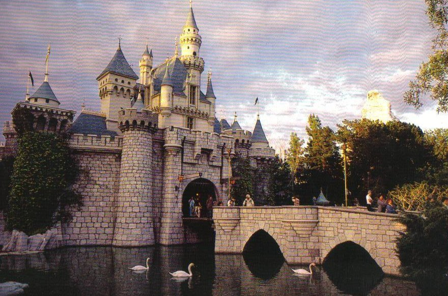 Disneyland Swans in the Moat Sleeping Beauty Castle Postcard