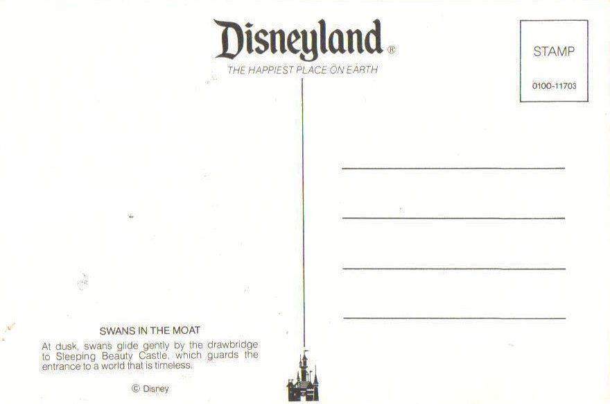 Image 1 of Disneyland Swans in the Moat Sleeping Beauty Castle Postcard