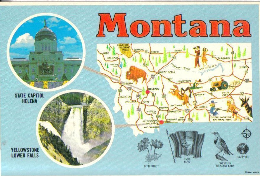 Big Sky Country, Montana Postcard Landmarks and Fast Facts