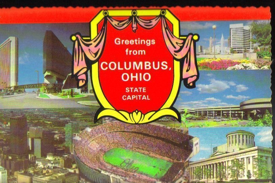 Greetings From Columbus Ohio Vintage Post Card