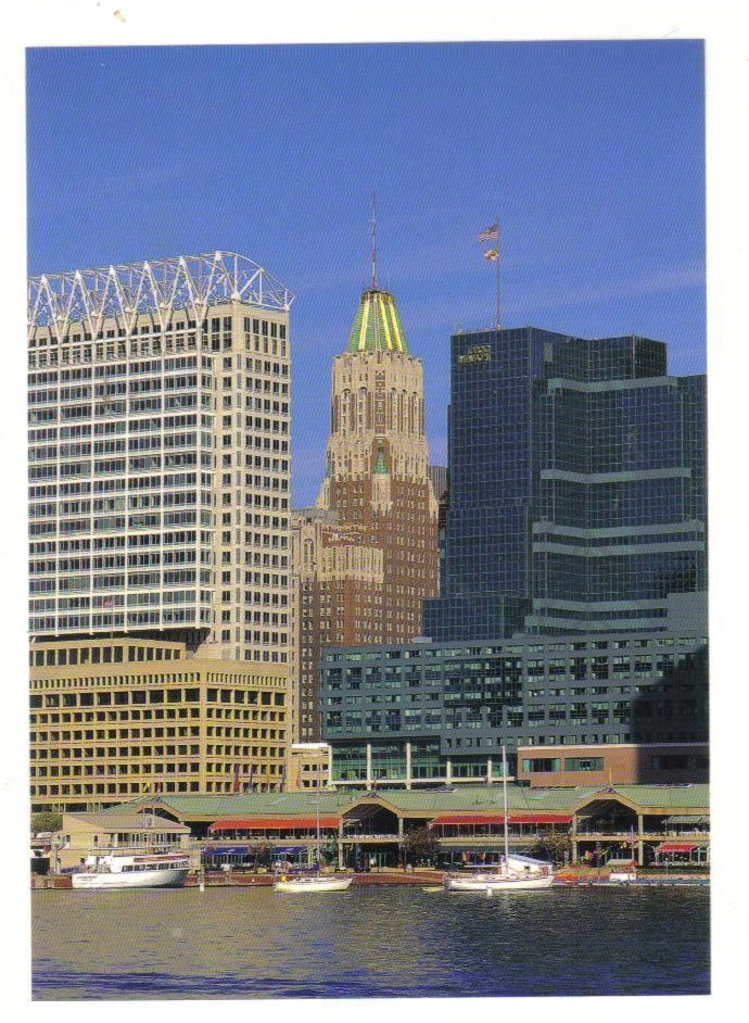 Baltimore Skyline and the Inner Harbor, Maryland Postcard