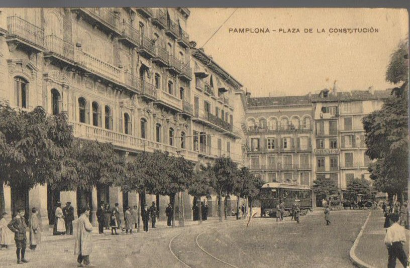 Constitution Plaza, Pamplona, Spain, Antique Postcard 1915