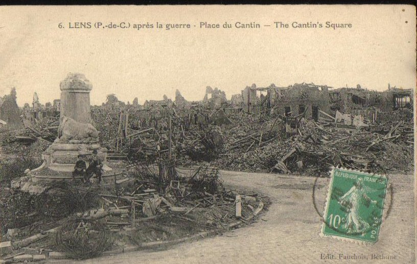 After the War Cantin's Square France Antique Postcard 1918