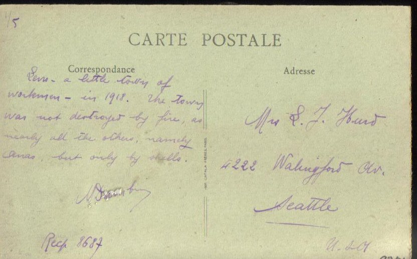 Image 1 of After the War Cantin's Square France Antique Postcard 1918