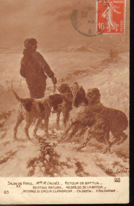 Man with Dogs Paris France Antique Postcard 1921