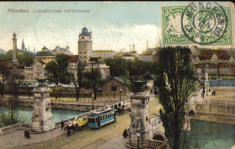 Ludwigsbrucke Bridge Munchen Munich Germany Antique Postcard 1911