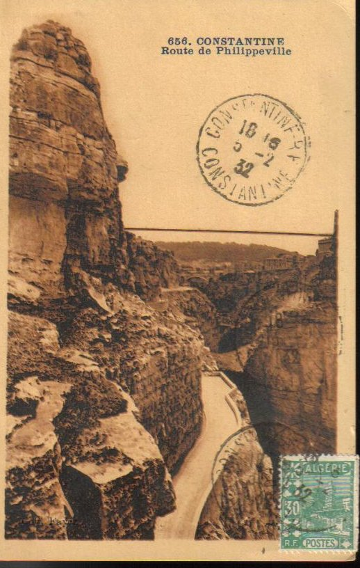 Constantine to Phillippeville North Africa Antique Postcard 1932