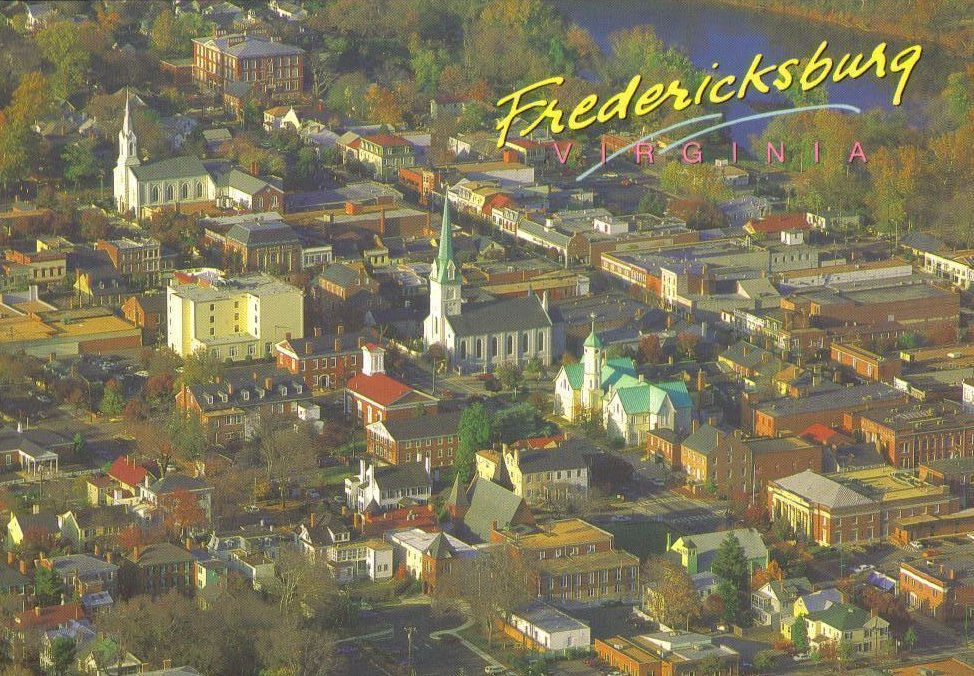 Aerial View of Historic Fredericksburg Virginia Postcard