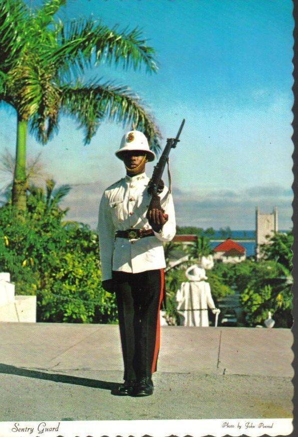 Sentry Guard at Government House, Vintage Bahamas Postcard