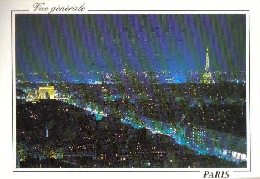 Night View over Paris, France Postcard