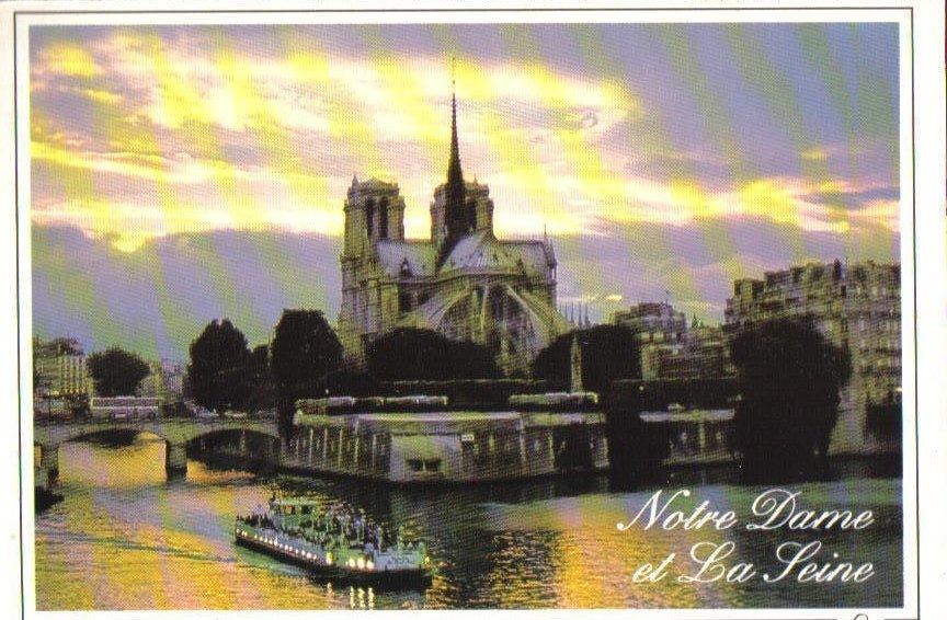 Dusk onThe Seine and Notre-Dame, Paris, France Postcard