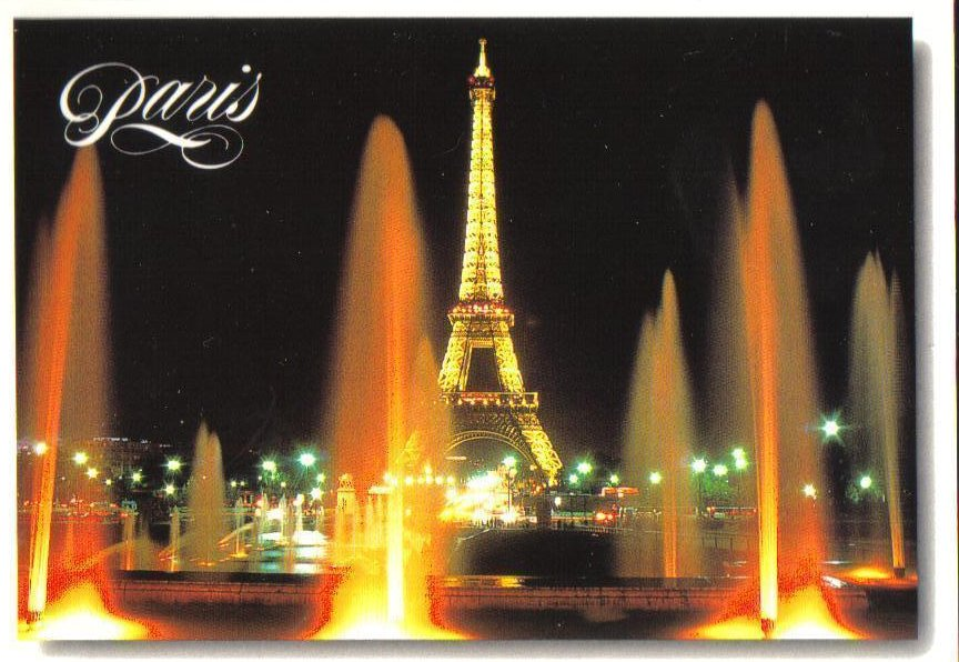 Eiffel Tower at Night, Paris, France Postcard
