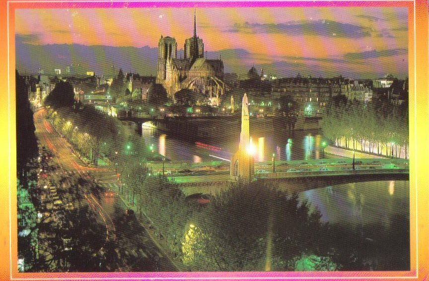 Paris at Night, France Postcard Notre Dame Cathedral