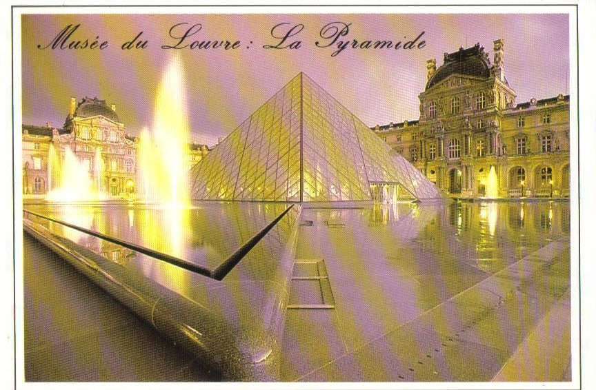 Pyramid at the Louvre Museum in Paris, France Postcard Side View