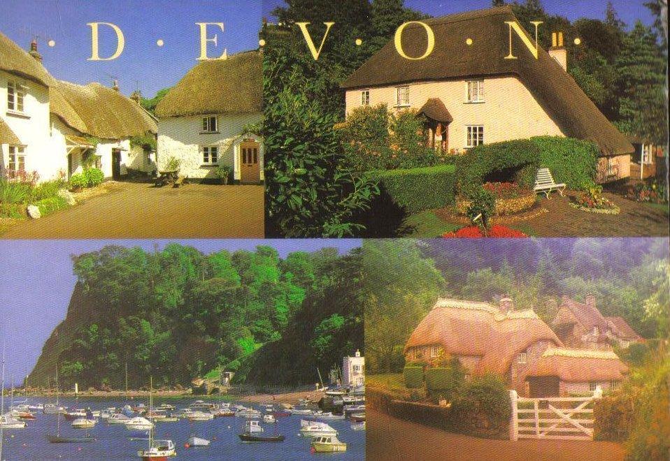 Devon, United Kingdom Postcard Scenes of Devon Quad Card