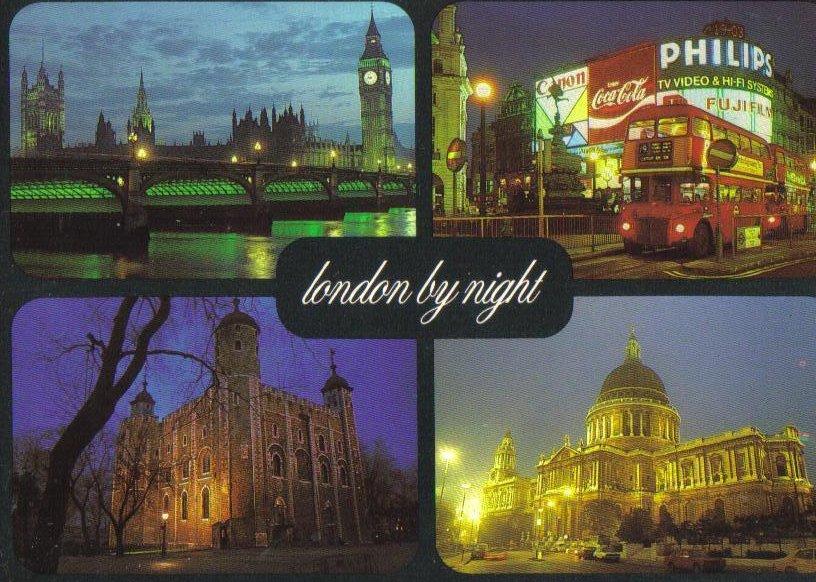 London by Night, United Kingdom Postcard