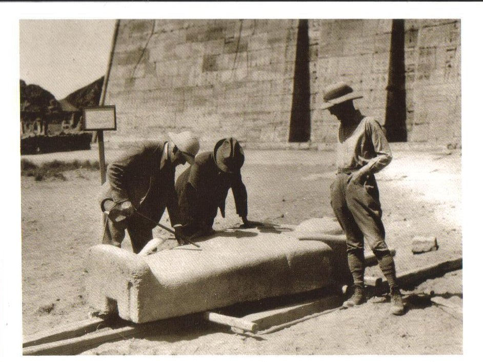 Drs. examine the sarcophagus lid of Priest Harsiese Postcard