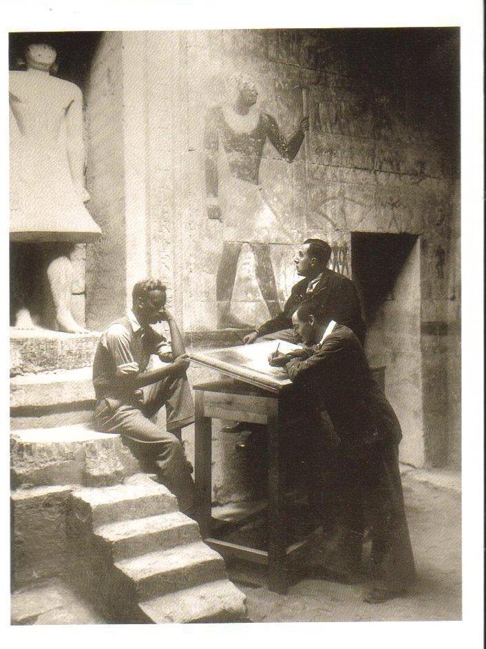 Copying inscriptions at Mastaba Tomb of Mereruka Postcard