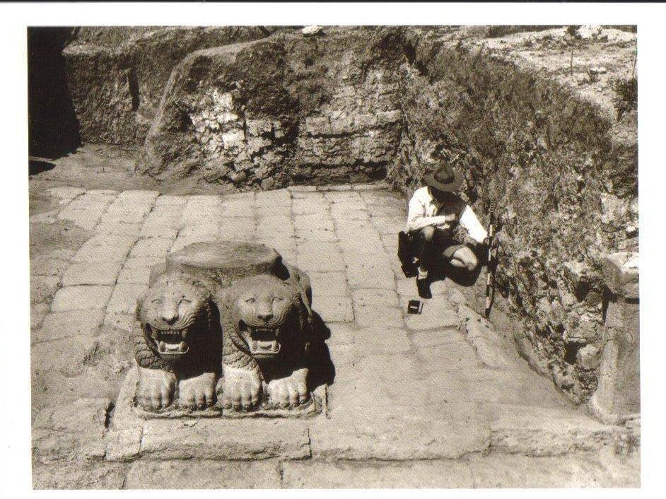 Excavation near the double lion column base Turkey Postcard