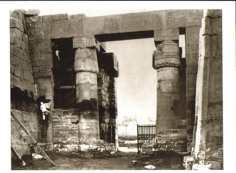 Copying inscriptions on the Temple of Amun, Karnak Postcard