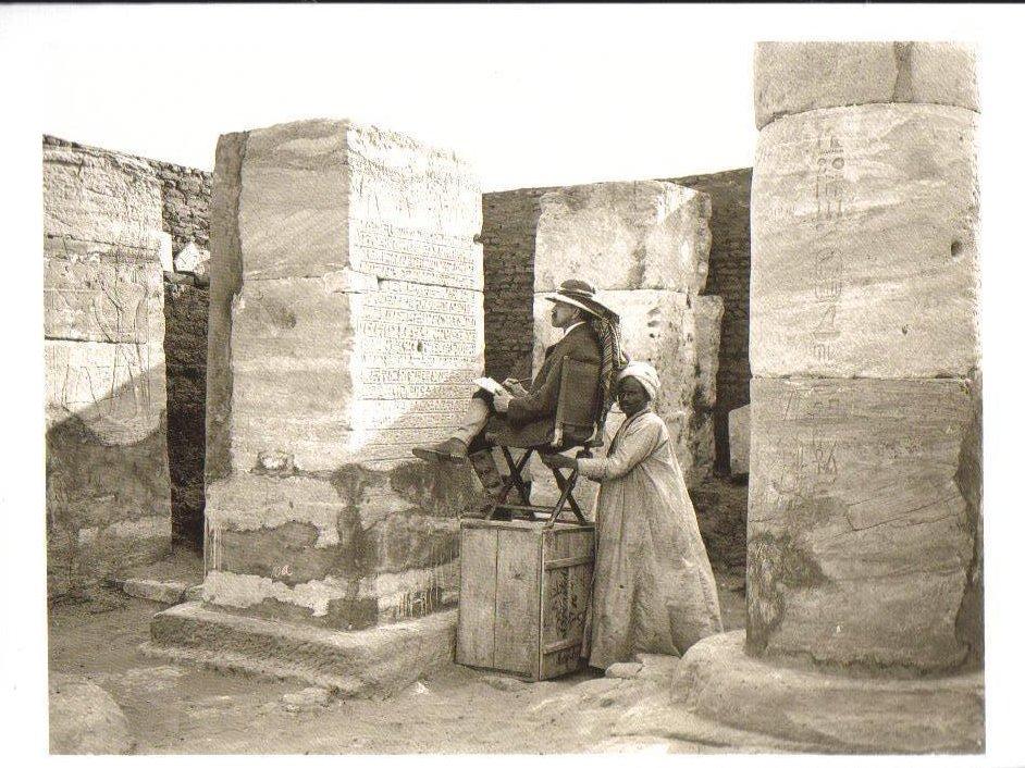 Copying inscriptions at Wadi Halfa, Egypt Postcard
